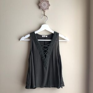 Chloe and Katie Olive Cropped Tank Top
